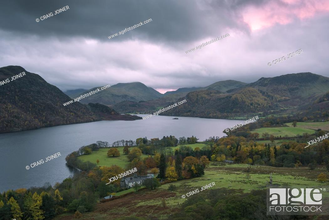 Stock Photo: Autumnal evening view over Ullswater and Aira Point from Gowbarrow Fell in the Lake District National Park, Cumbria, England.