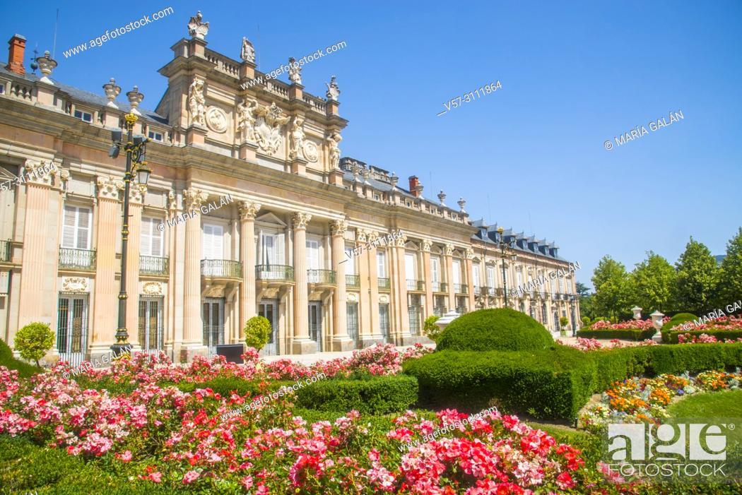Stock Photo: Facade of the Royal Palace. la Granja de San Ildefonso, Segovia province, Castilla Leon, Spain.