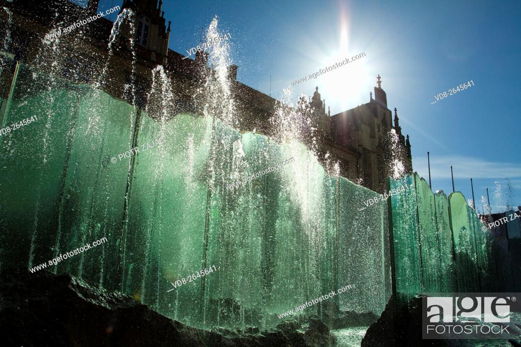 Stock Photo: Fountain at Market Square in Wroclaw, Poland.