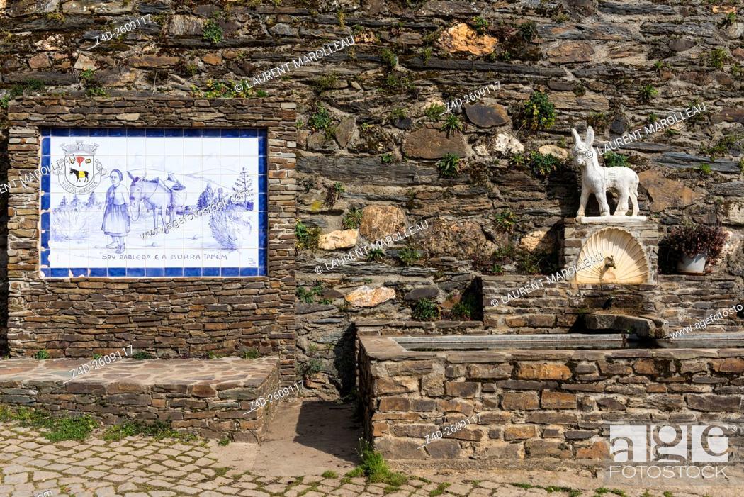 Stock Photo: Azulejos and Fountain at Aveleda Village, Montesinho Natural Park, Braganca District, Norte Region, Portugal, Europe.