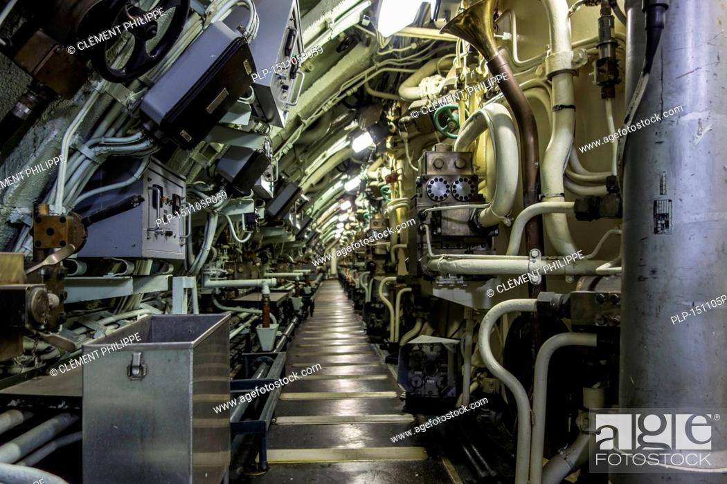 Stock Photo   Interior Of The Redoutable, First SSBN Ballistic Missile  Submarine Of The French Navy At The Cité De La Mer, Maritime Museum In  Cherbourg, ...