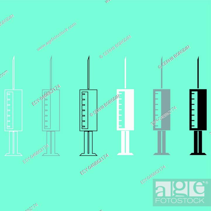Vector: Syringe white grey black icon set.