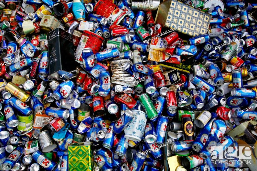 Stock Photo: Recycling tin cans , basel switzerland.