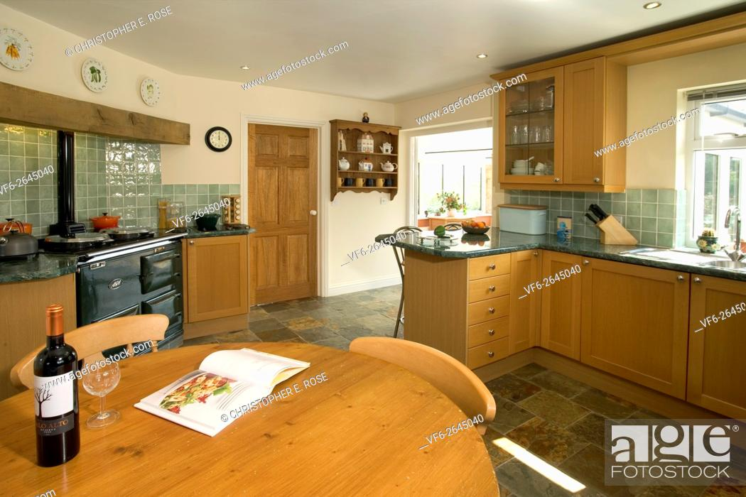 Simple Contemporary Kitchen With Aga Cooker Editorial Use Only Stock Photo Picture And Rights Managed Image Pic Vf6 2645040 Agefotostock