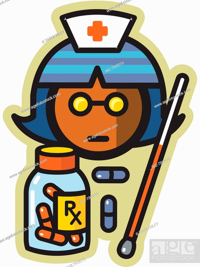 Stock Photo: Nurse with pills and thermometer.