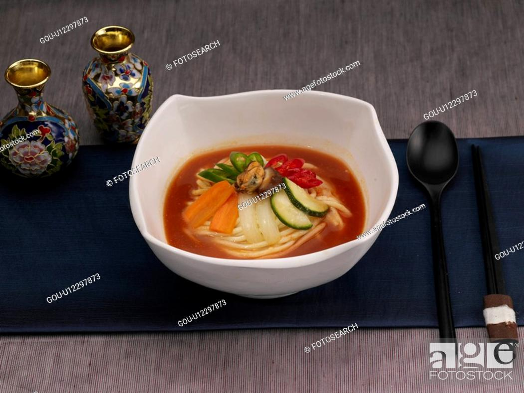Stock Photo: tableclothe, chopsticks, decoration, food styling, spoon, spicy seafood noodle.