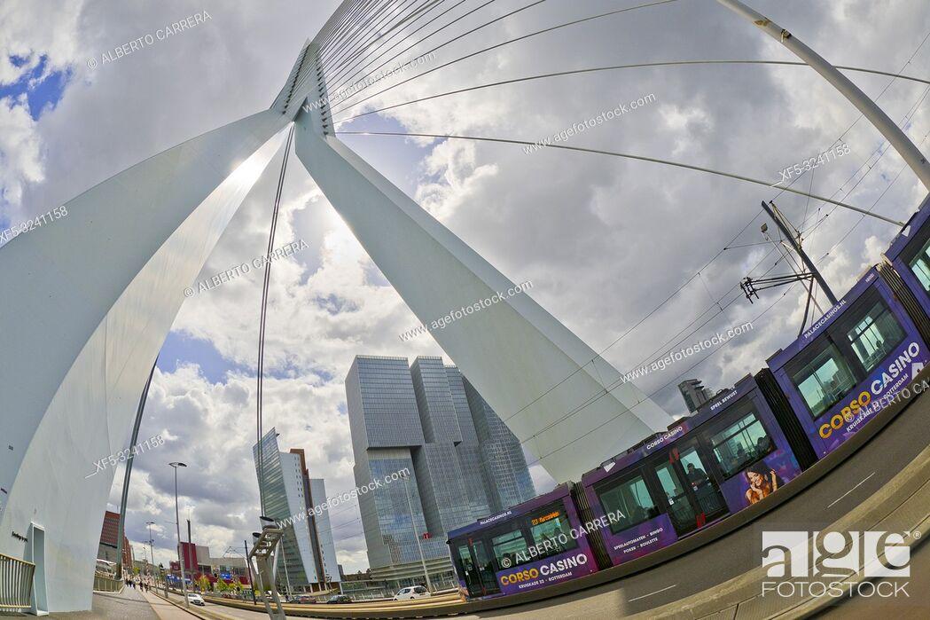 Photo de stock: Erasmus Bridge, Nieuwe Maas River, Modern Architecture, Rotterdam, Holland, Netherlands, Europe.