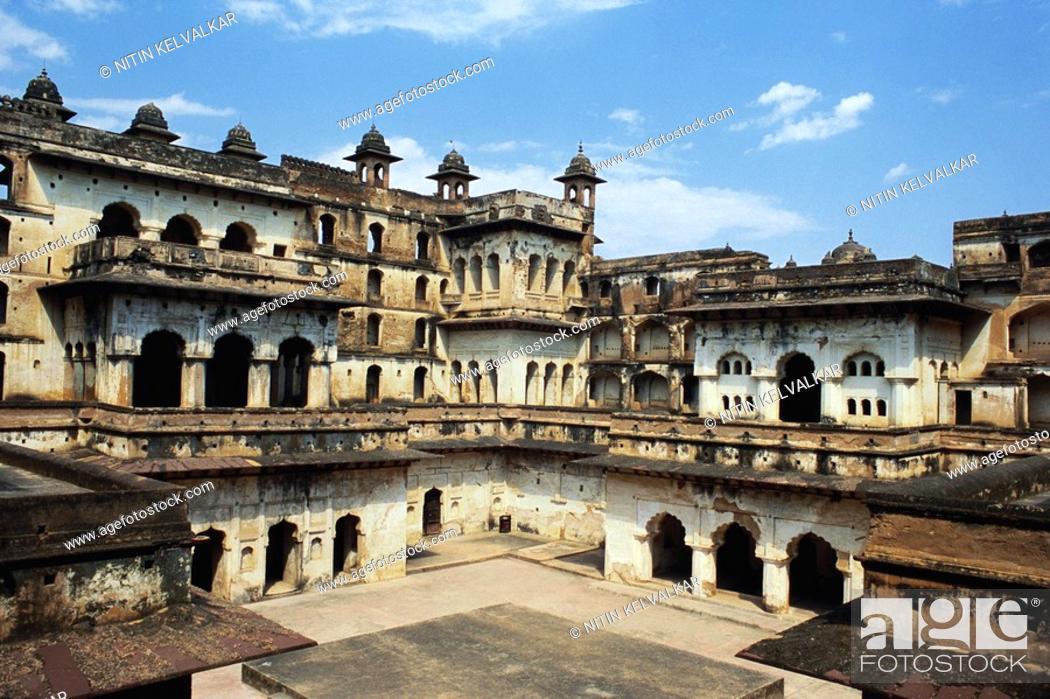 Stock Photo: Raja Mahal , Orchha , Madhya Pradesh , India.
