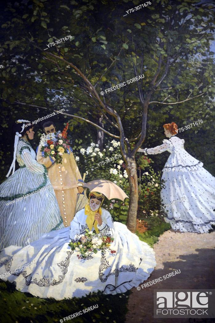 Stock Photo: Women in the garden, 1866, oil on canvas, Claude Monet, Musee d'Orsay, Orsay Museum, Paris, France, Europe.