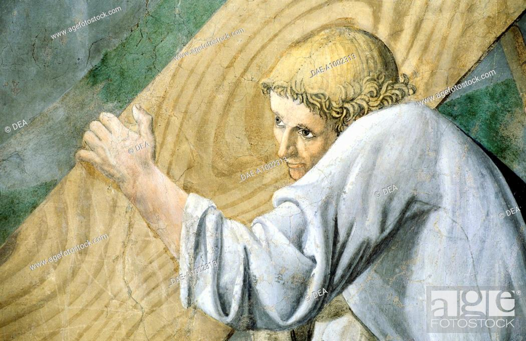 Stock Photo: The transport of the Sacred Wood, detail from the Legend of the True Cross, 1452-1466, by Piero della Francesca (1415/20-1492), fresco.