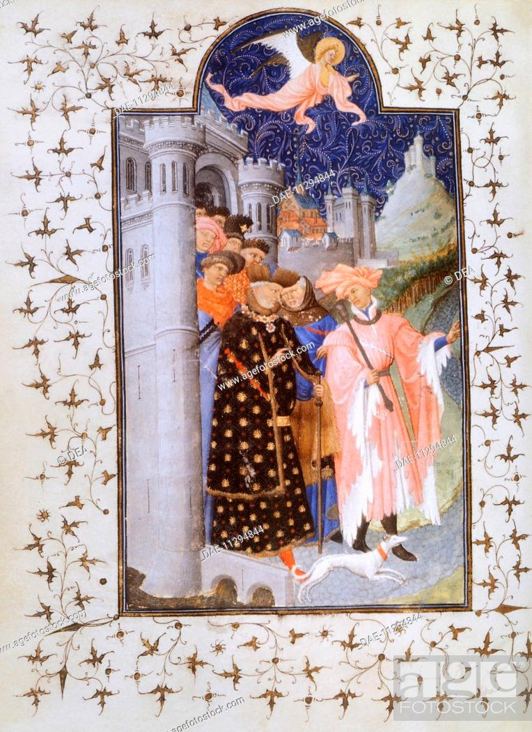 Stock Photo: The Duke's departure, miniature by Jacquemart de Hesdin from The Very Rich Hours of the Duke of Berry, France 14th Century.