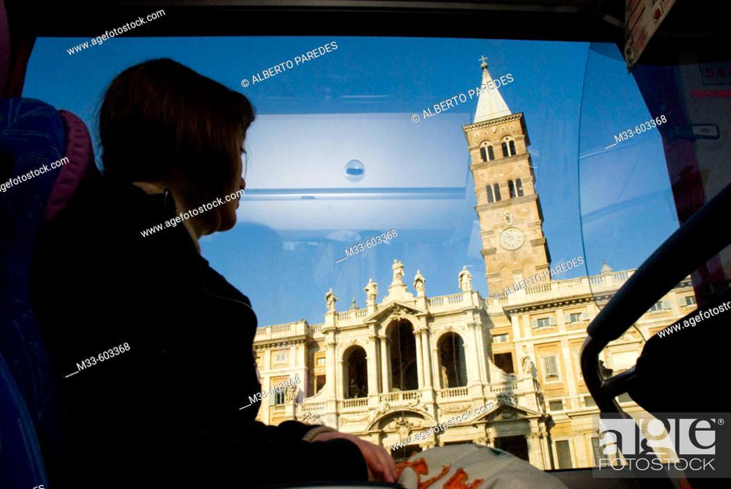 Stock Photo: S. Maria la Maggiore church from a bus. Rome. Italy.