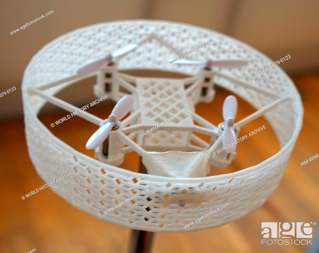 Stock Photo: 3D Printed prototype of a Domestic Drone, used ensure security of the domestic environment. Dated 21st Century.