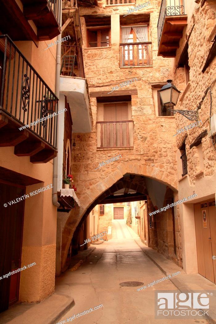 Stock Photo: Street in Beceite. Teruel.