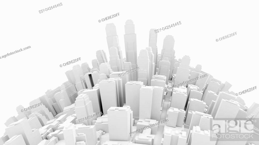 Stock Photo: Aerial view of cityscape background. White city on curved surface. 3d Illustration.