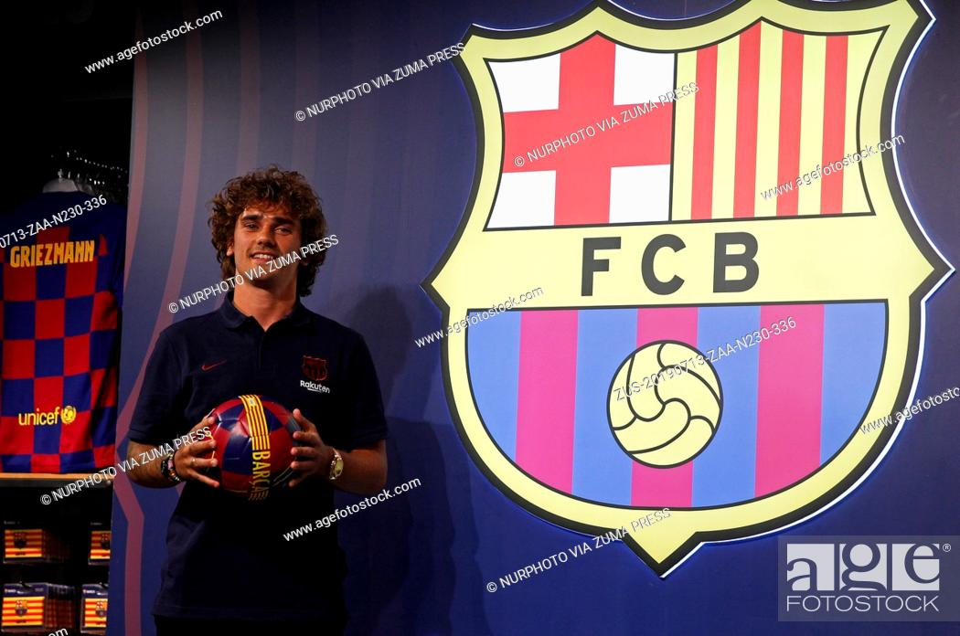 Stock Photo: July 13, 2019 - Barcelona, Catalonia, Spain - Barcelona's new French forward Antoine Griezmann poses during a photocall in Barcelona on July 13.
