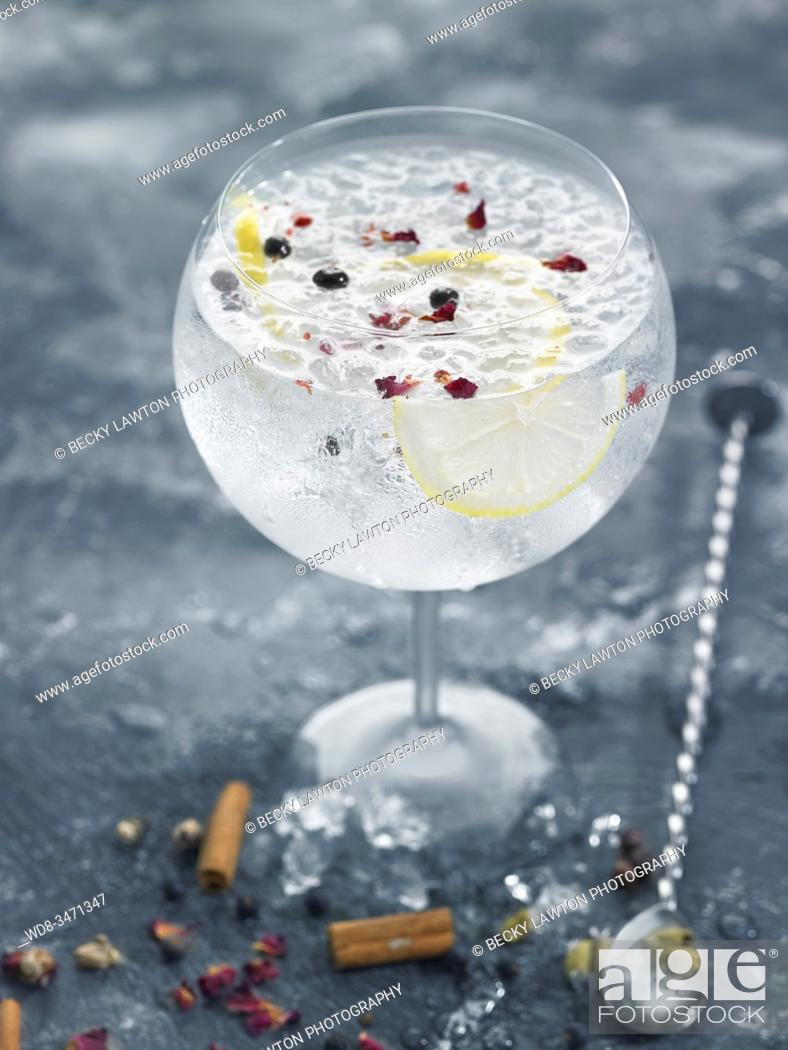 Stock Photo: gin & tonic.