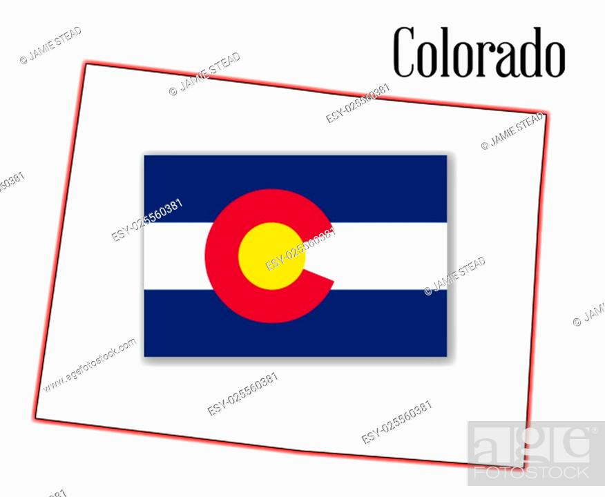 Imagen: State map outline of Colorado over a white background with inset flag.