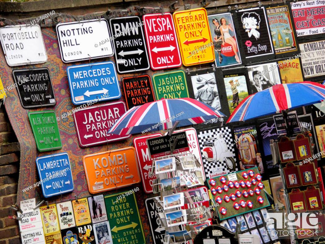Stock Photo: Souvenir Vending At Portobello Road London.