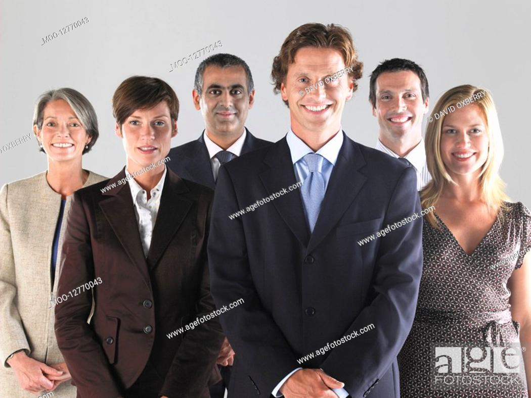 Stock Photo: Group of smiling businesspeople.