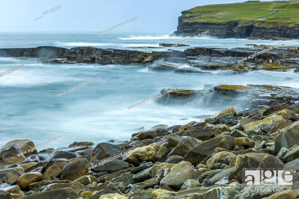 Stock Photo: Coastline at Downpatrick Head on the Wild Atlantic Way in northern County Mayo Ireland.