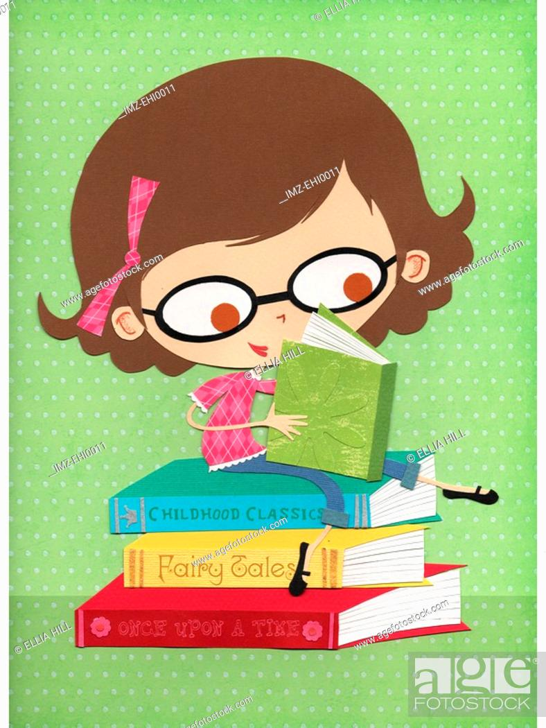 Stock Photo: A paper cut illustration of a little girl wearing glasses and reading books.