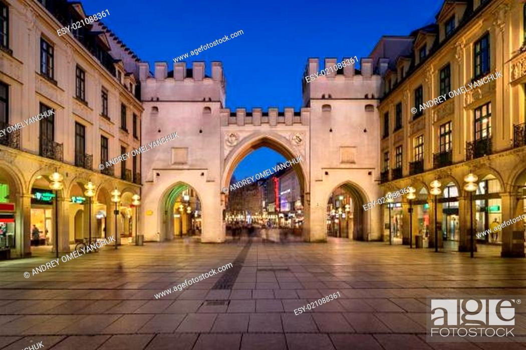 Stock Photo: Karlstor Gate and Karlsplatz Square in the Evening, Munich, Germany.