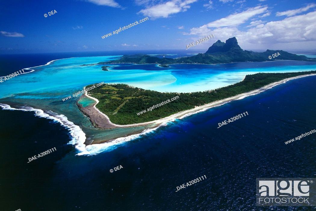 Aerial View Of Bora Bora Island Society Islands Leeward