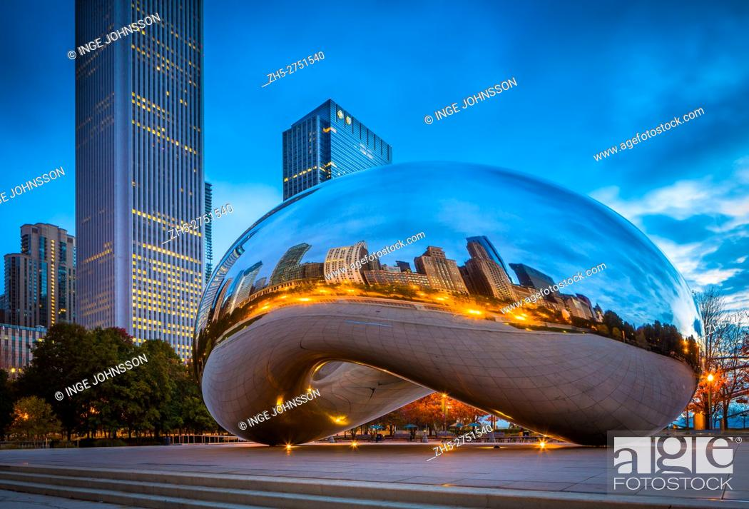 Stock Photo: Cloud Gate is a public sculpture by Indian-born British artist Anish Kapoor, that is the centerpiece of AT&T Plaza at Millennium Park in the Loop community area.