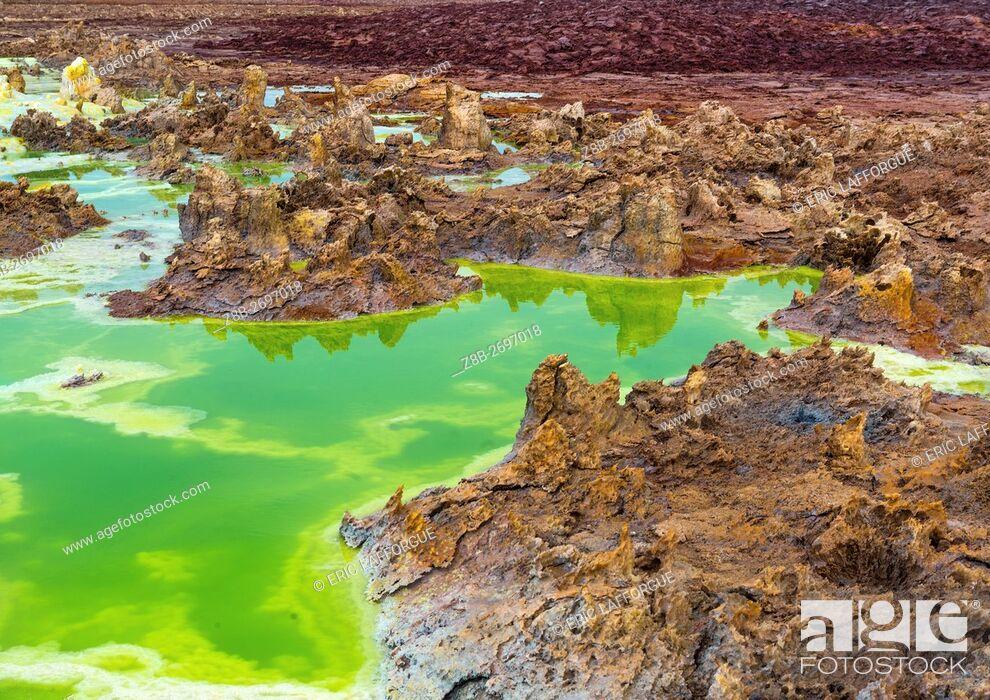 Stock Photo: Ethiopia, Afar Region, Dallol, the colorful volcanic landscape of dallol in the danakil depression.