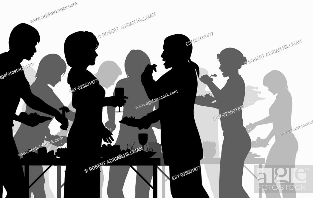 Stock Vector: EPS8 editable vector silhouettes of people enjoying a buffet with all figures as separate objects.
