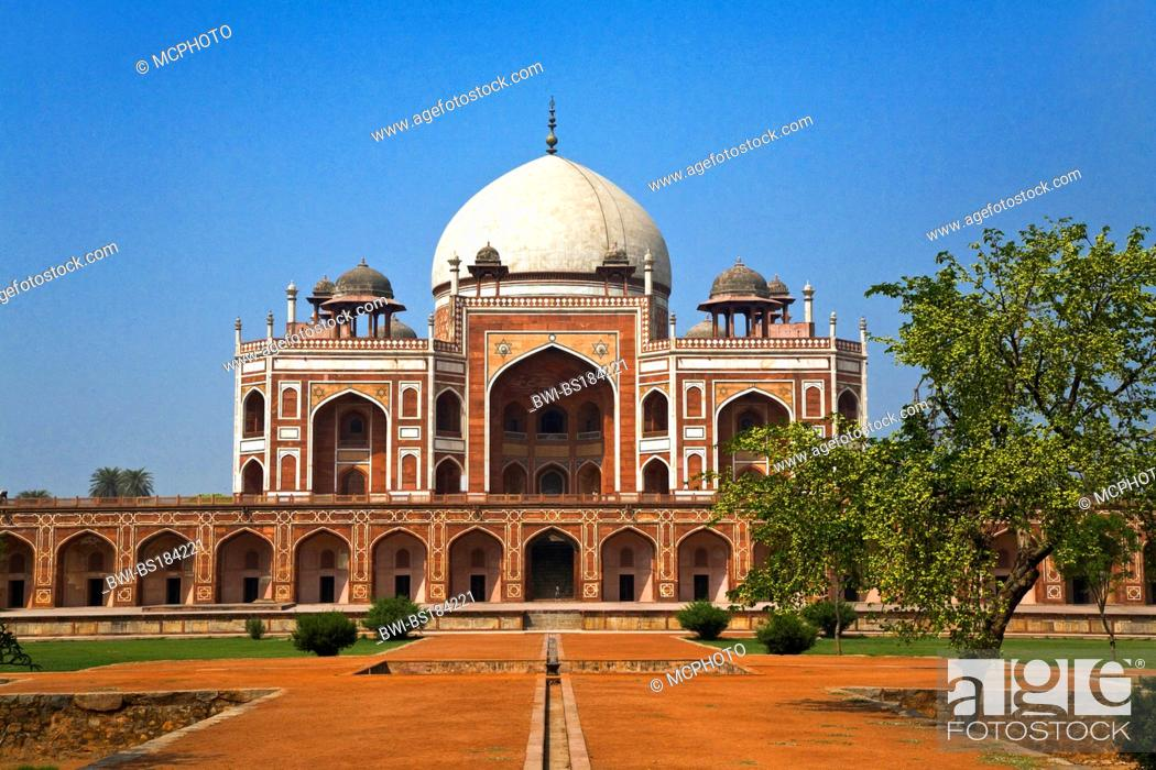 Stock Photo: HUMAYUN'S TOMB was built of white marble and red sandstone in 1565 and is a fine example of MUGHAL architecture, India, New Delhi.