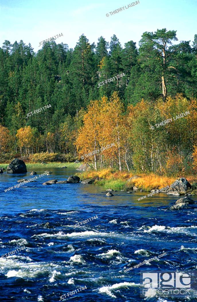 Stock Photo: Finland, Lapland, Inari, Juutuanjoki river.