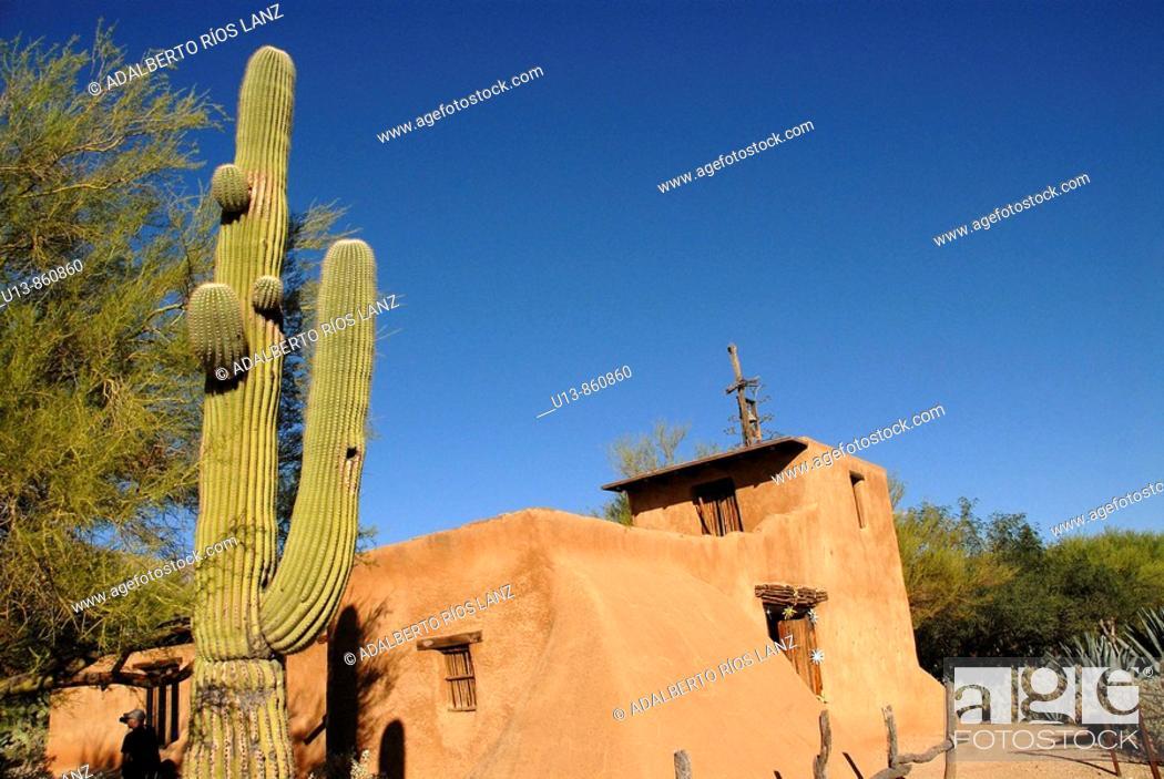 Stock Photo: Exterior View of the Chapel at De Grazia Gallery In The Sun, Tucson, Arizona, United States.
