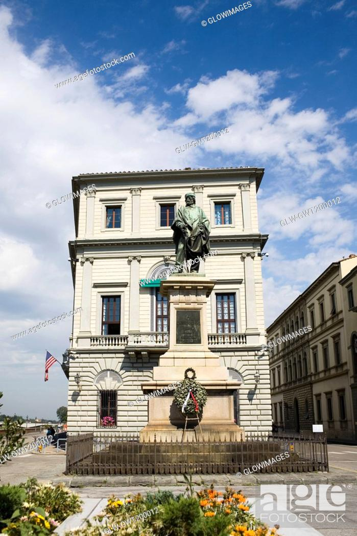 Stock Photo: Low angle view of a statue in front of a building, Giuseppe Garibaldi, Florence, Italy.