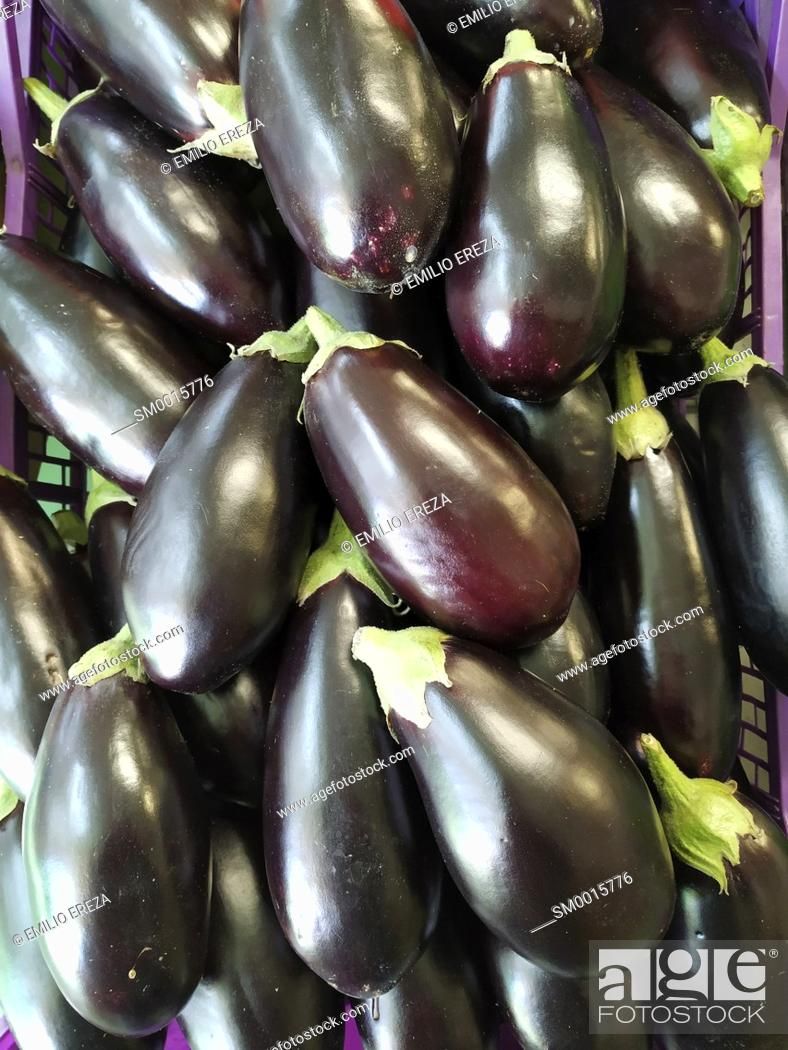 Stock Photo: Aubergines for sale.