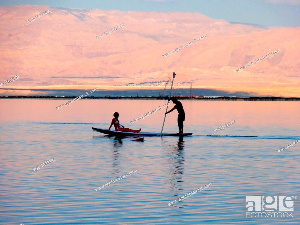 Stock Photo: Romantic sunset, Dead Sea , Israel.