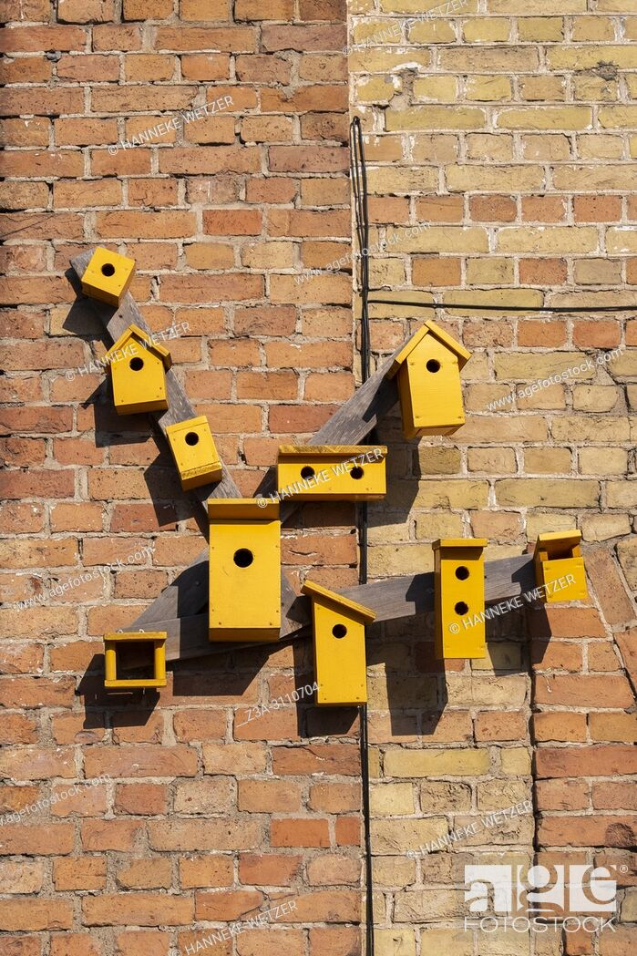 Photo de stock: Yellow birdhouses at Spikeri cultural district in Riga, Latvia, Europe.