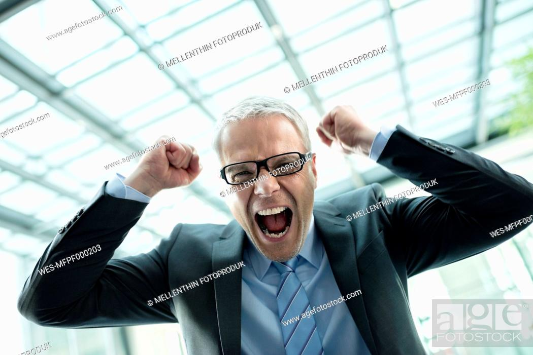 Stock Photo: Germany, Stuttgart, Businessman laughing in office building.