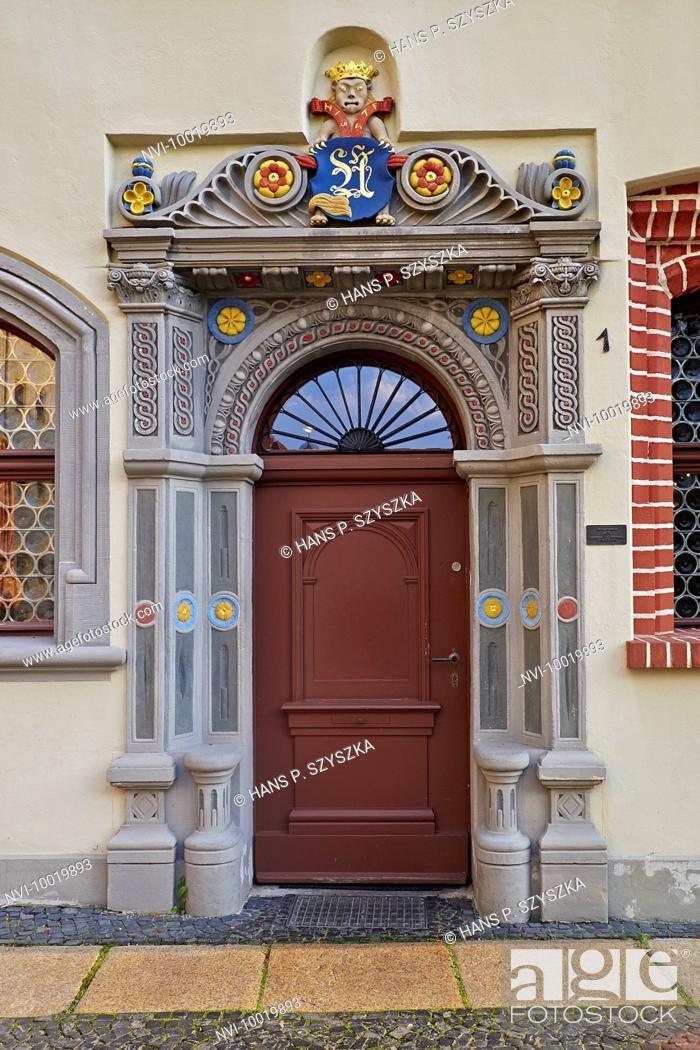 Stock Photo: Portal of the house Langenstrasse 1 in Görlitz, Saxony, Germany.
