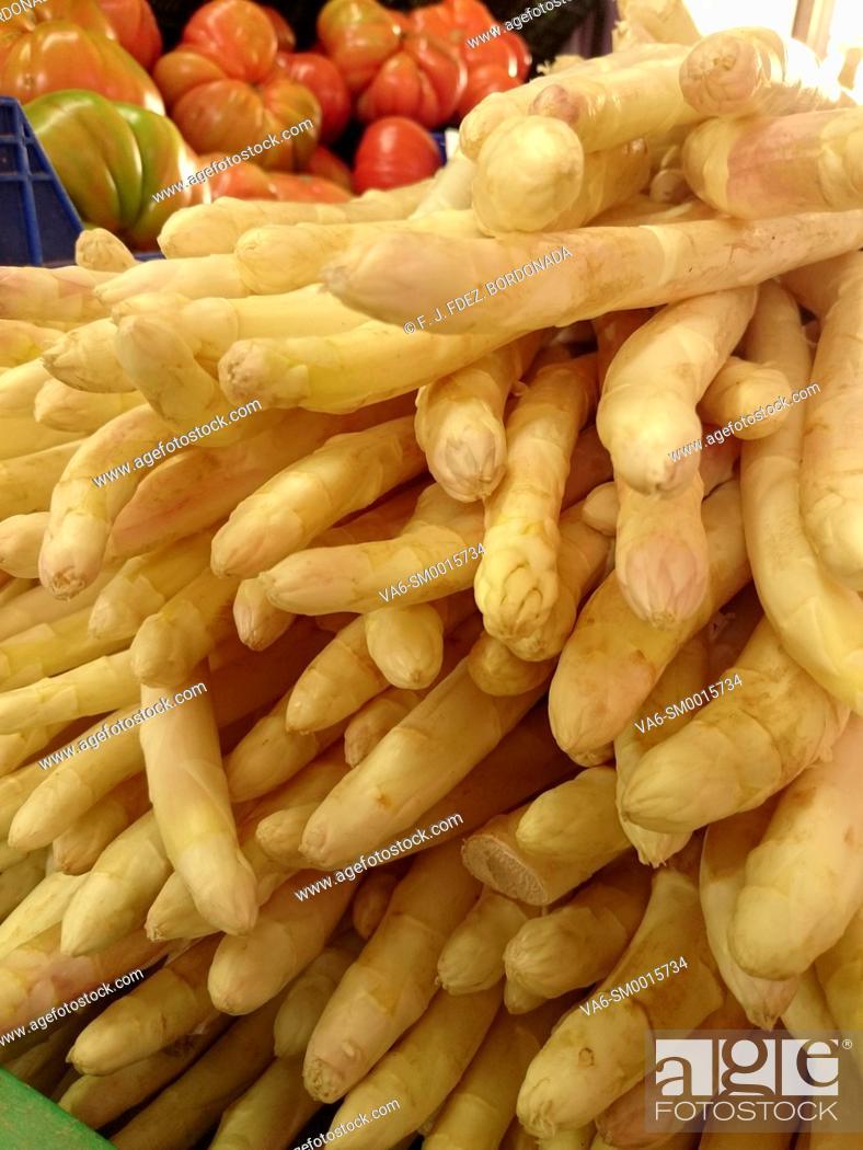 Stock Photo: Vegetables market in Tudela, Navarre, Spain.