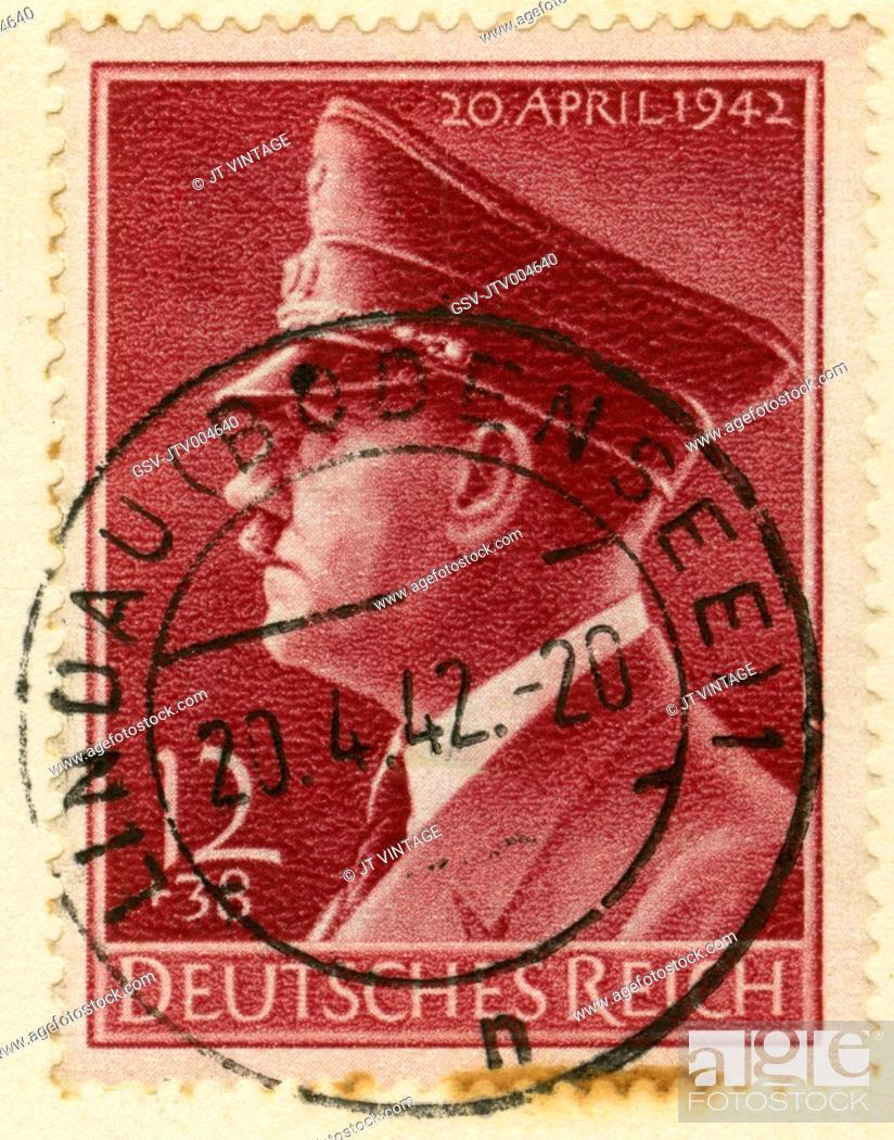 Stock Photo: Adolf Hitler Portrait on German Stamp, 1942.