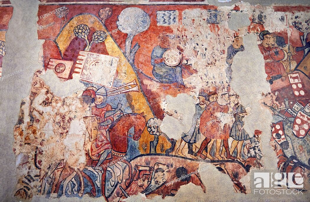 "Stock Photo: Gothic fresco mural painting """"THE CONQUEST OF MAJORCA"""" 1285-1290. National Museum of Catalan Art, Barcelona, Spain, inv no: 071447-CJT."