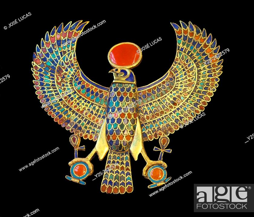 Stock Photo: Pectoral jewel, Gold falcon, Tutankhamun's treasure, Museum of Egyptian Antiquities, Cairo, Egypt, Africa.