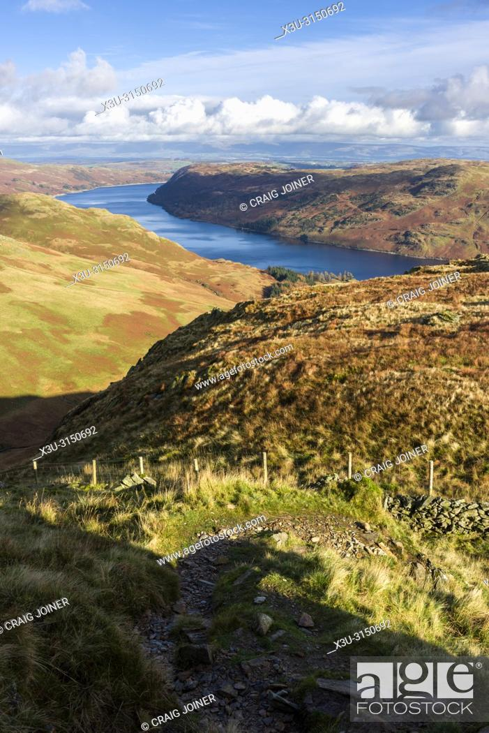 Stock Photo: Haweswater Reservoir from Rough Crag in the Lake District National Park, Cumbria, England.
