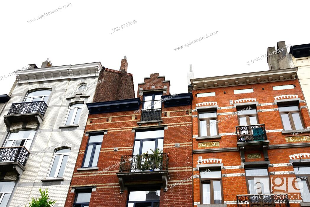 Stock Photo: residential architecture in European district, Brussels, Belgium, Europe.