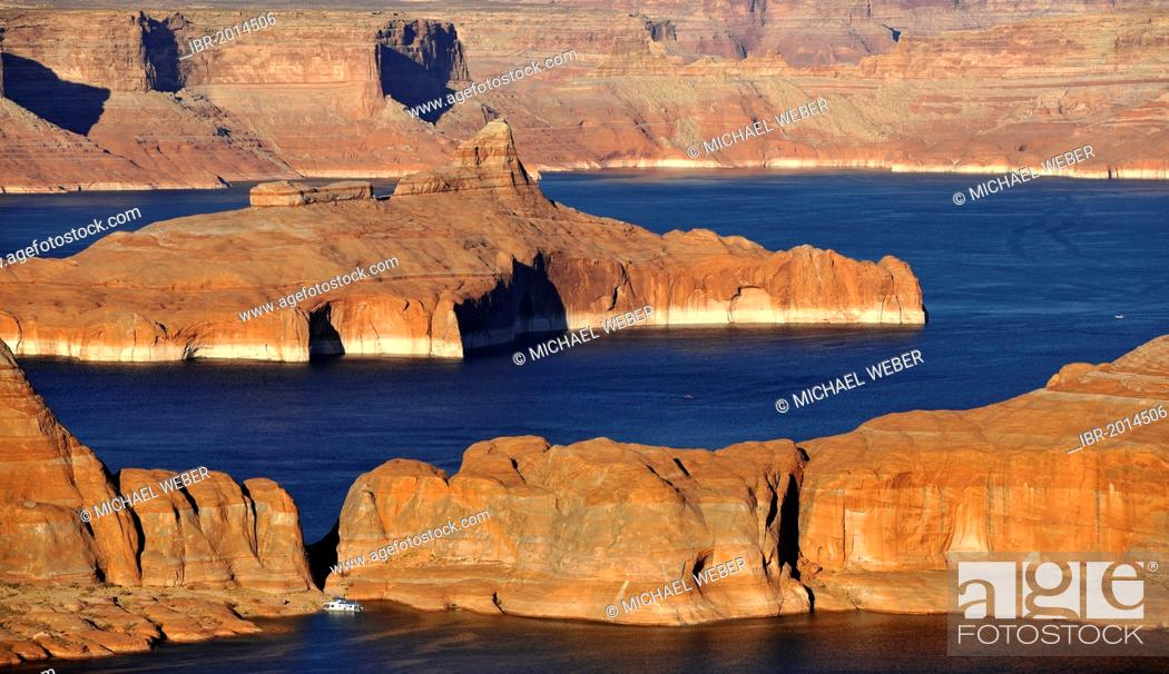 Stock Photo: View from Alstrom Point towards Lake Powell, Padre Bay with Gunsight Butte and Navajo Mountain, Bigwater, Glen Canyon National Recreation Area, Arizona, Utah.