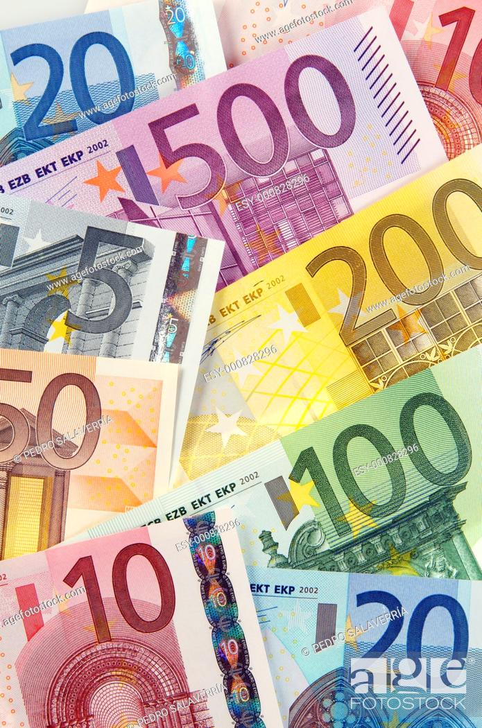 Stock Photo: view of group of European banknotes.