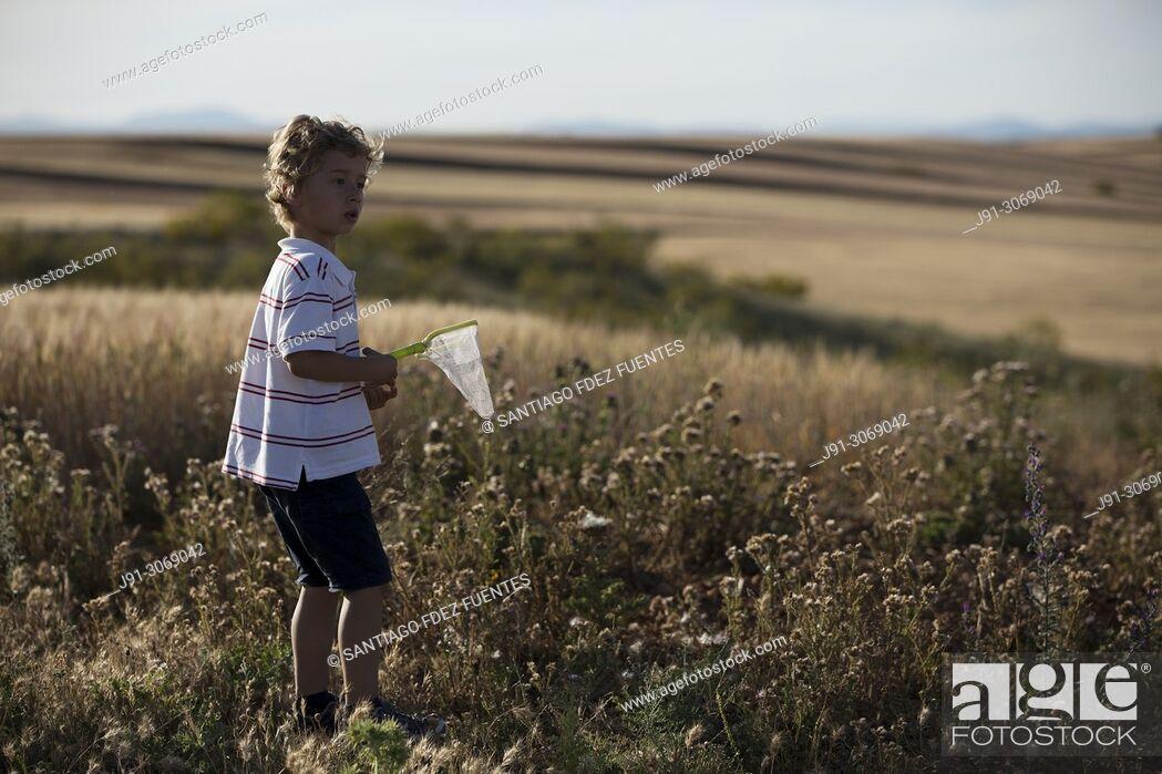 Photo de stock: Boy in cereal fields. Ajalvir. Madrid Province. Spain.