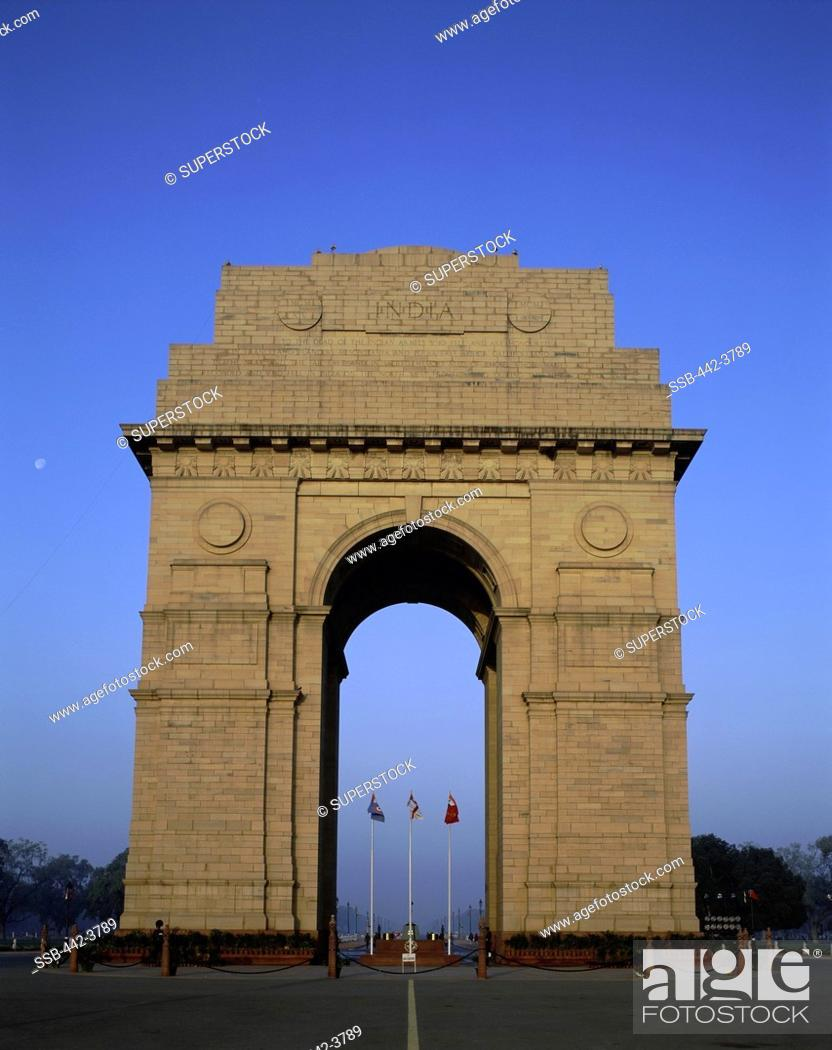 Stock Photo: Facade of the India Gate, New Delhi, India.